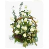 White rose basket arrangement