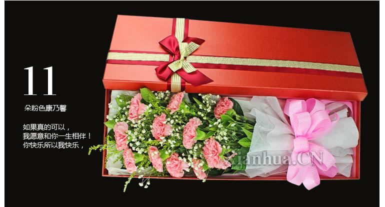 11朵粉色康乃馨,搭配满天星