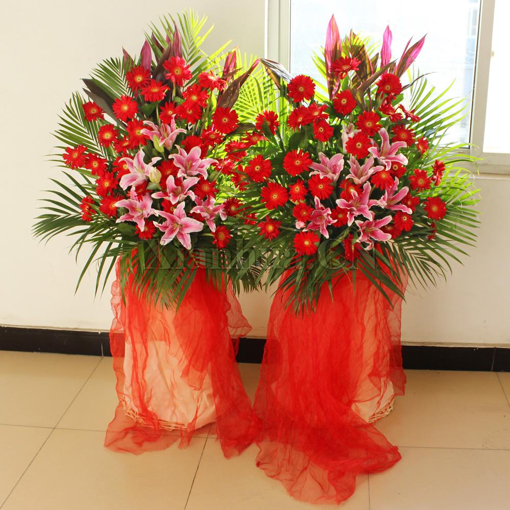 开业花篮:百合,红掌,玫瑰,太阳花,配叶 - 深圳杜拉拉鲜花网