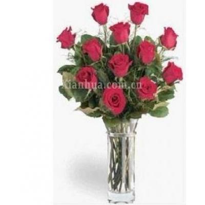 阿联酋Vase of 12 red roses