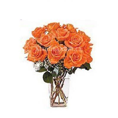日本 Dozen Fire Orange Roses Bouquet